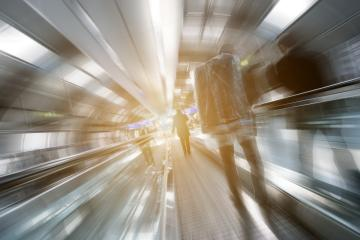 blurred business passengers on a walkway- Stock Photo or Stock Video of rcfotostock | RC-Photo-Stock