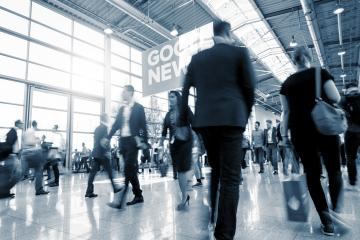 Blurred business people at a European Trade Fair- Stock Photo or Stock Video of rcfotostock | RC-Photo-Stock
