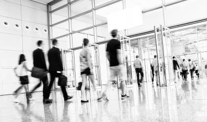 Blurred business people at a European trade fair entrance- Stock Photo or Stock Video of rcfotostock | RC-Photo-Stock