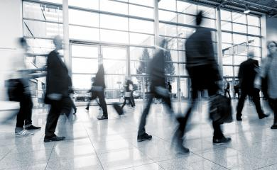 Blurred business people at a International Exhibition walkway- Stock Photo or Stock Video of rcfotostock | RC-Photo-Stock