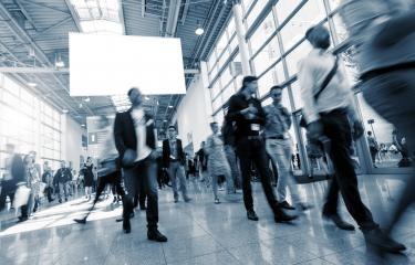Blurred business people at a International Trade Fair- Stock Photo or Stock Video of rcfotostock | RC-Photo-Stock
