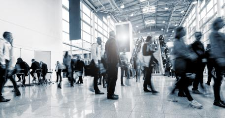 Blurred business people at a International Trade Fair hall- Stock Photo or Stock Video of rcfotostock | RC-Photo-Stock
