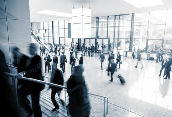 Blurred business people at a modern trade fair mall- Stock Photo or Stock Video of rcfotostock | RC-Photo-Stock