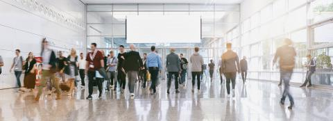 blurred business people at a trade fair, banner size- Stock Photo or Stock Video of rcfotostock | RC-Photo-Stock