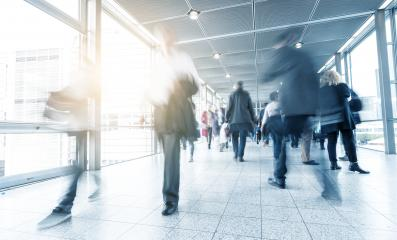 Blurred business people at a trade fair floor- Stock Photo or Stock Video of rcfotostock | RC-Photo-Stock