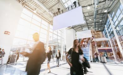 blurred business people at a trade fair, including Copy space- Stock Photo or Stock Video of rcfotostock | RC-Photo-Stock