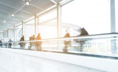 Blurred business people at a trade fair on a skywalk/staircase- Stock Photo or Stock Video of rcfotostock | RC-Photo-Stock