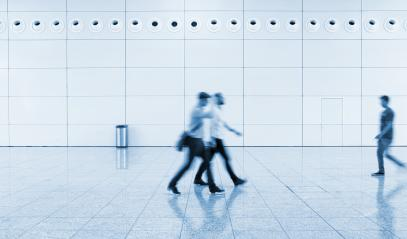 Blurred business people at a trade fair walkway - Stock Photo or Stock Video of rcfotostock | RC-Photo-Stock