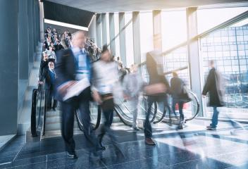 blurred business people at a trade show staircases- Stock Photo or Stock Video of rcfotostock | RC-Photo-Stock