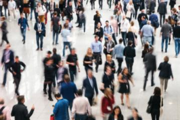Blurred business people crowd at a trade fair- Stock Photo or Stock Video of rcfotostock | RC-Photo-Stock