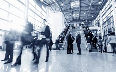 blurred business people in a trade fair hall- Stock Photo or Stock Video of rcfotostock | RC-Photo-Stock