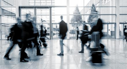 Blurred business people in rush on a International Trade Fair- Stock Photo or Stock Video of rcfotostock | RC-Photo-Stock