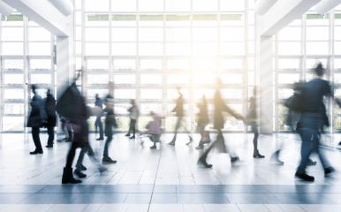 Blurred business people moving at a trade fair- Stock Photo or Stock Video of rcfotostock | RC-Photo-Stock