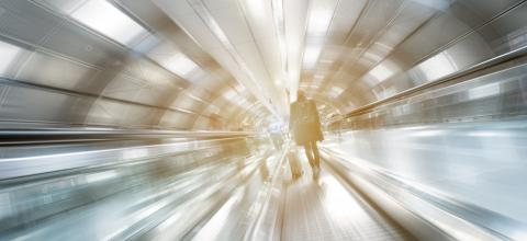 Blurred business people on a futuristic indoor walkway- Stock Photo or Stock Video of rcfotostock | RC-Photo-Stock