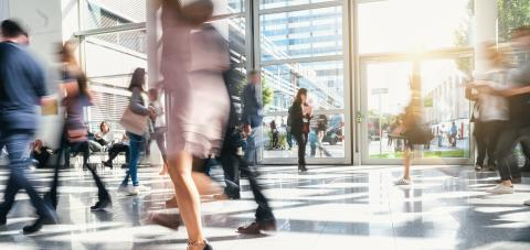 blurred business people rushing in a office center- Stock Photo or Stock Video of rcfotostock | RC-Photo-Stock