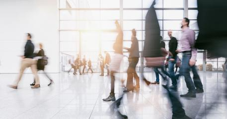 blurred business people rushing in a trade fair hall- Stock Photo or Stock Video of rcfotostock | RC-Photo-Stock