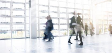 Blurred business people using a walkway at a Exhibition- Stock Photo or Stock Video of rcfotostock | RC-Photo-Stock