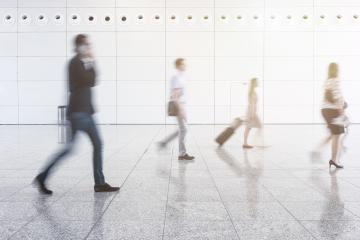 Blurred business people walking at corridor in convention hall- Stock Photo or Stock Video of rcfotostock | RC-Photo-Stock