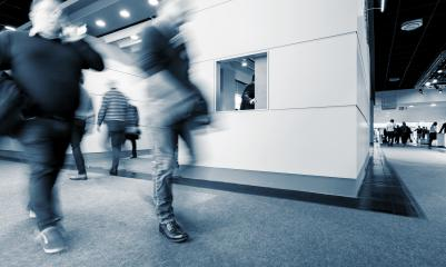 Blurred business people Walking at Rush Hour on a Exhibition- Stock Photo or Stock Video of rcfotostock | RC-Photo-Stock