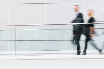 blurred business people walking in a futuristic corridor, including Copy space- Stock Photo or Stock Video of rcfotostock | RC-Photo-Stock