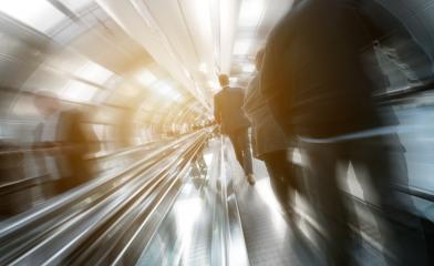 Blurred business traveler on a indoor walkway- Stock Photo or Stock Video of rcfotostock | RC-Photo-Stock