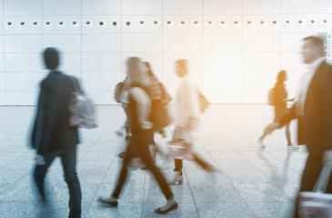 Blurred business visitors at a trade fair- Stock Photo or Stock Video of rcfotostock | RC-Photo-Stock