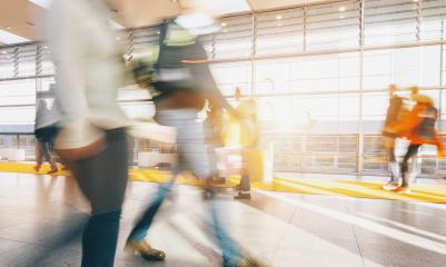 blurred commuters at a trade fair - Stock Photo or Stock Video of rcfotostock | RC-Photo-Stock