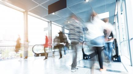 blurred commuters walking at a corridor- Stock Photo or Stock Video of rcfotostock | RC-Photo-Stock