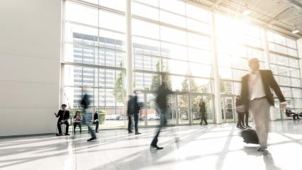 blurred commuters walking at a Exhibition- Stock Photo or Stock Video of rcfotostock | RC-Photo-Stock
