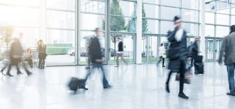 blurred commuters walking at a trade fair- Stock Photo or Stock Video of rcfotostock | RC-Photo-Stock