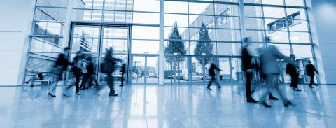 blurred commuters walking in a modern hall- Stock Photo or Stock Video of rcfotostock | RC-Photo-Stock