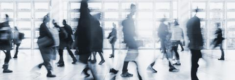 blurred crowd commuting traveling walking in a modern hall- Stock Photo or Stock Video of rcfotostock | RC-Photo-Stock