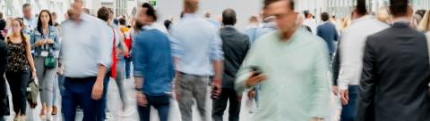 Blurred crowd of people at trade fair event- Stock Photo or Stock Video of rcfotostock | RC-Photo-Stock