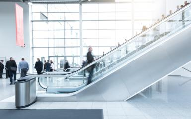 blurred Exhibition visitors at a escalator- Stock Photo or Stock Video of rcfotostock | RC-Photo-Stock