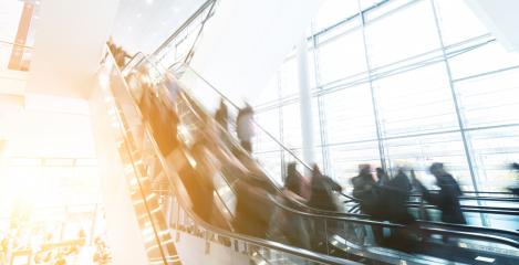 blurred Exhibition visitors at escalators- Stock Photo or Stock Video of rcfotostock | RC-Photo-Stock