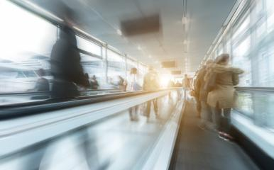 blurred Exhibition visitors rushing on a escalator- Stock Photo or Stock Video of rcfotostock | RC-Photo-Stock