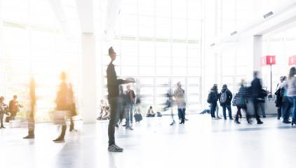 blurred Exhibition visitors standing and walking in the lobby motion blurred- Stock Photo or Stock Video of rcfotostock | RC-Photo-Stock
