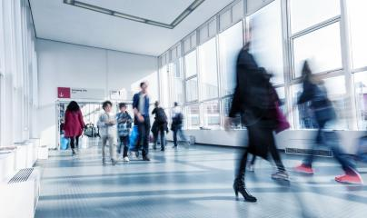 blurred International Trade Fair visitors at a modern hall- Stock Photo or Stock Video of rcfotostock | RC-Photo-Stock