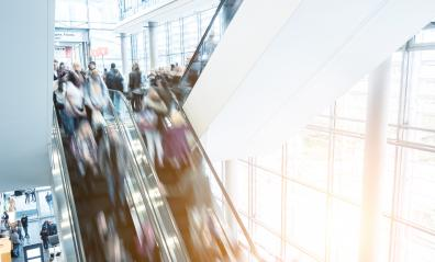 Blurred people at a escalator oin a shopping center- Stock Photo or Stock Video of rcfotostock | RC-Photo-Stock