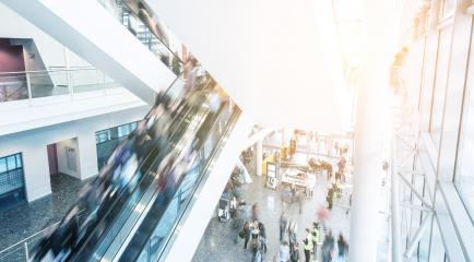 Blurred people at a escalator on a Exhibition- Stock Photo or Stock Video of rcfotostock | RC-Photo-Stock