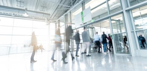Blurred People at a trade fair entrance- Stock Photo or Stock Video of rcfotostock | RC-Photo-Stock