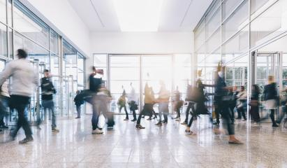 blurred people at a trade fair hall- Stock Photo or Stock Video of rcfotostock   RC-Photo-Stock