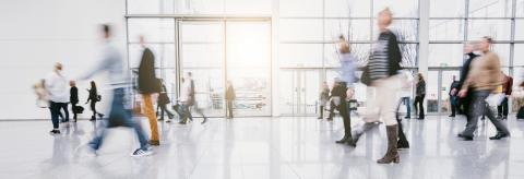 blurred people commuting traveling walking in a modern hall- Stock Photo or Stock Video of rcfotostock | RC-Photo-Stock
