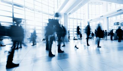 Blurred people in the lobby of a modern Exhibition center- Stock Photo or Stock Video of rcfotostock | RC-Photo-Stock