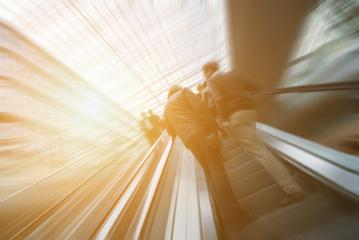 Blurred people using a escalator at a shopping mall- Stock Photo or Stock Video of rcfotostock | RC-Photo-Stock