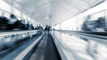 Blurred people using a staircase at a airport- Stock Photo or Stock Video of rcfotostock | RC-Photo-Stock