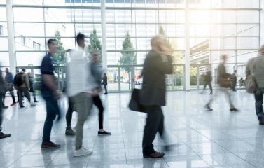 Blurred people walking at a trade fair- Stock Photo or Stock Video of rcfotostock | RC-Photo-Stock