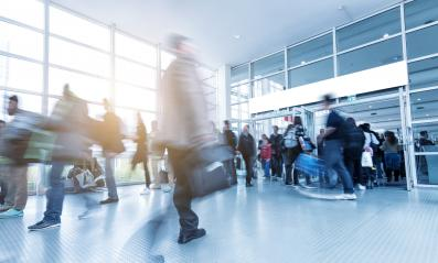 blurred people walking in a modern European Trade Fair hall- Stock Photo or Stock Video of rcfotostock | RC-Photo-Stock