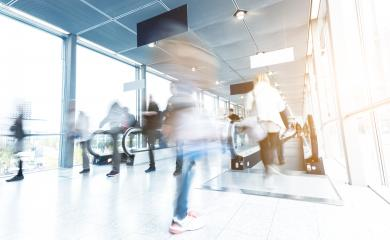 blurred people walking in a modern hall entrance - Stock Photo or Stock Video of rcfotostock | RC-Photo-Stock
