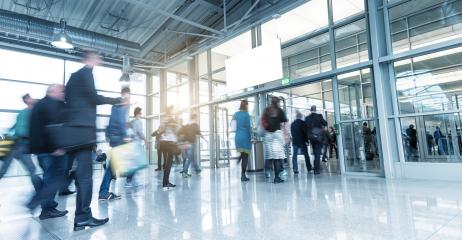 blurred people walking in a modern hall on a European Trade Fair- Stock Photo or Stock Video of rcfotostock | RC-Photo-Stock